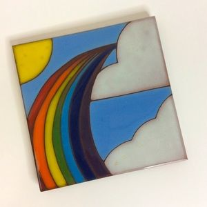 Italian Made Rainbow Clouds Sun Kitchen Trivet
